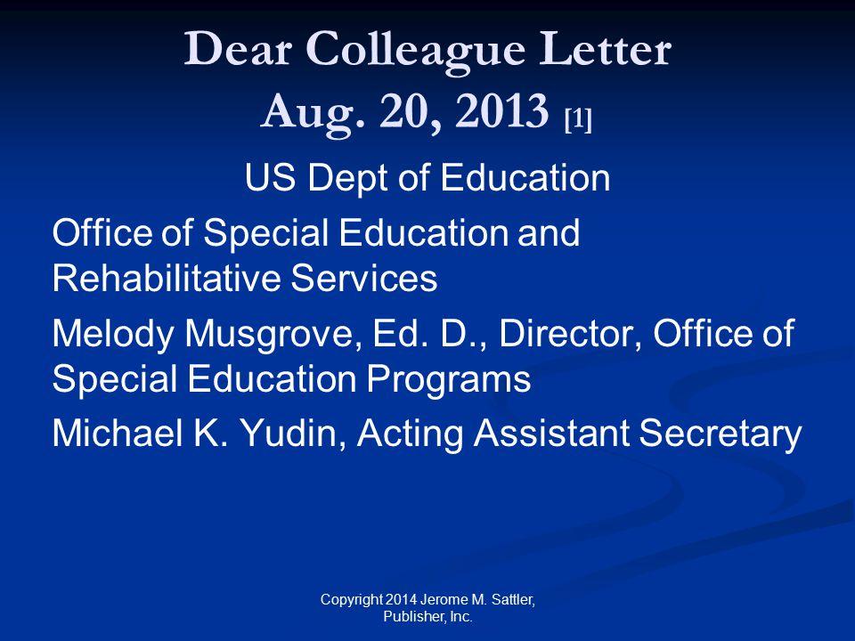 Dear Colleague Letter Aug. 20, 2013 [1]